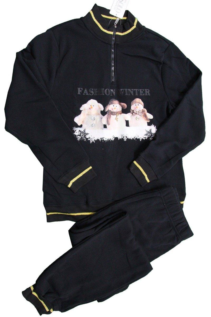 Russo Tessuti Tuta Donna Pigiama Solo Soprani Maglia Felpata Cerniera Cotone Fashion Winter-Variante 1-S