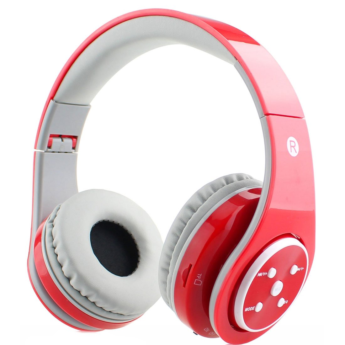 Mokata Bluetooth Headphone Wireless & AUX Foldable Rechargeable Headset Hi-fi Stereo for Smart Cell Phones & Tablets TV Multicolor B06 Red