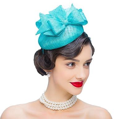 Womens Fascinators Sky Blue Wedding Dress Hats Bow Linen Pillbox Hat ... 07b89113282