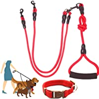 Double Dog Leash for 2 Dogs with Soft Handle, Heavy Duty Dual Dog Leash, 360° Swivel No Tangle & Soft Handle, Walking…