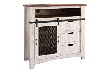 Greenview Sliding Door Distressed White Media Chest Media Console With  Storage