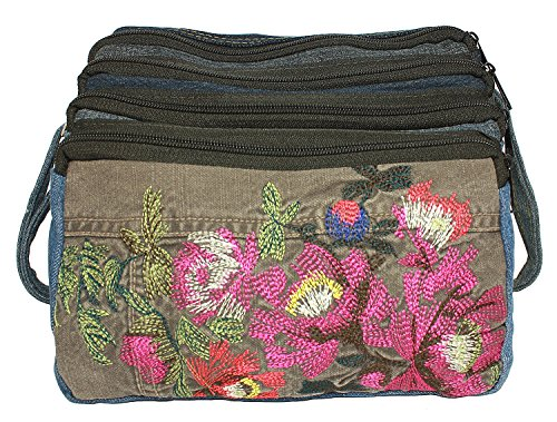 BDJ Upcycling Blue Denim Jean Zipper Cross Body Shoulder Handbag (Flower)