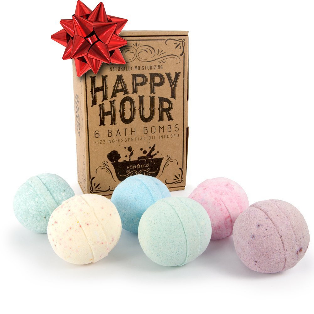 HomEco Happy Hour Bath Bombs XL Gift Set of 6 - Handmade in the USA, Paraben Free, Phthalates Free, Lush All Natural Essential Oils, Cocoa Butter, Coconut Oil, Fizzies, Melts, Bubble Bath