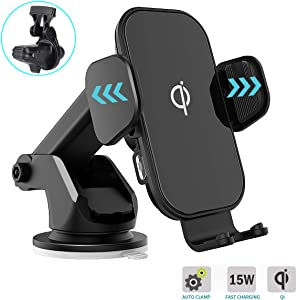Wireless Car Charger - KKUYI 15W Qi Fast Charging Auto-Clamping Car Mount Windshield Dash Air Vent Phone Holder Compatible iPhone11/11Pro/11Pro Max/Xs MAX/XS/XR/X/8/8+, Samsung S10/S10+/S9/S9+/S8/S8+