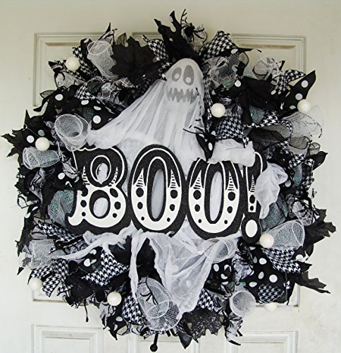 Black and White and BOO All Over! Ghost Halloween Deco Mesh Front Door Wreath, Not So Spooky Kid Friendly Porch Sign Decor, Haunted (Fall Halloween Porch Ideas)