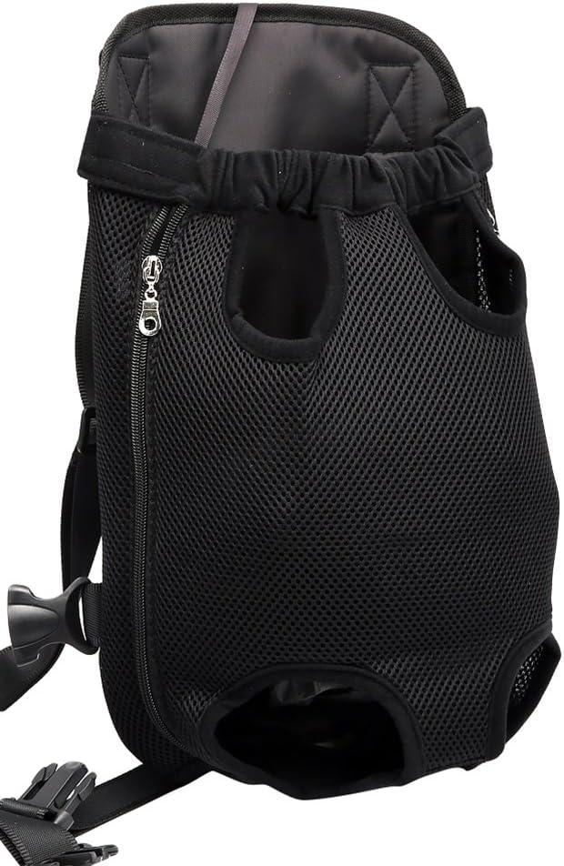 YOUJIA Mochila Bolsa para Perro Gato Mascota, Bolsa de Transporte con Gancho y Correa Ajustable Negro, XL (41*24cm)
