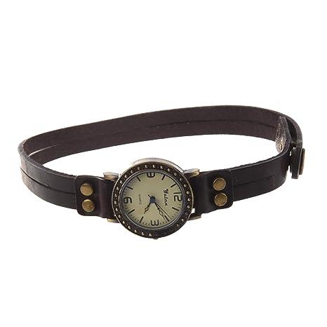 SODIAL(R) Reloj Cuarzo Pulsera Banda de Cuero Estilo Antiguo para Senoras Chicas -