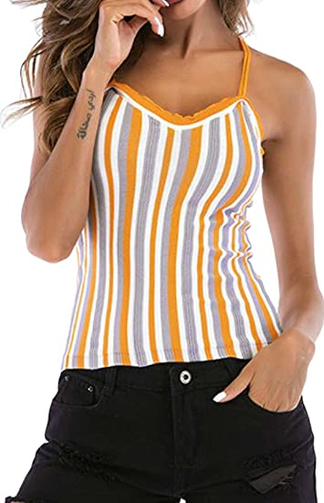 Big Tang Womens Casual Stripe Spaghetti Strap Back Cross Knitted Tank Tops  Blouse Orange S