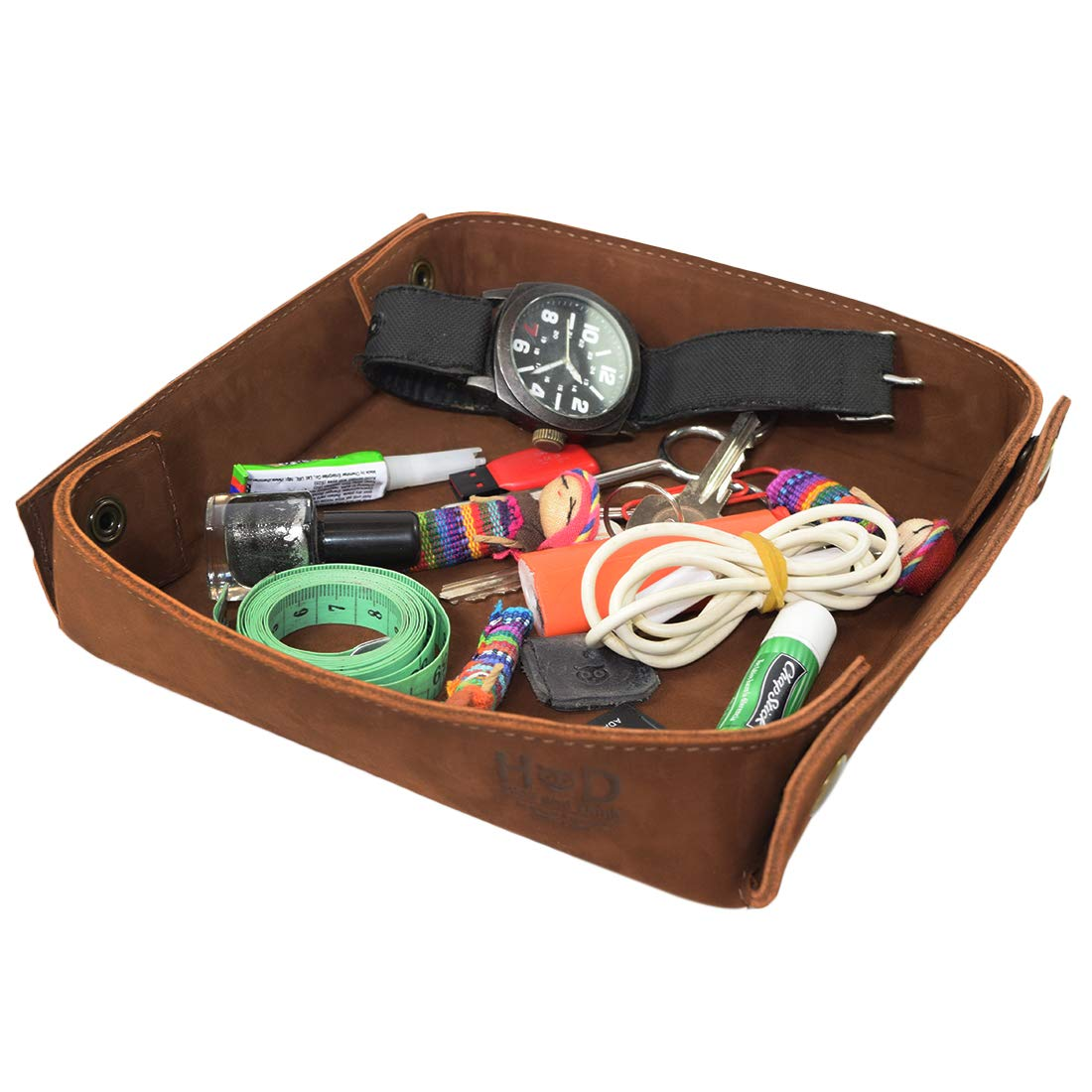 Hide & Drink, Leather Catchall Change Keys Coins Jewels Box Tray Big Storage Handmade Includes 101 Year Warranty :: Swayze Suede