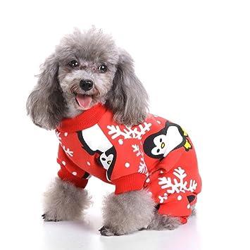 SMALLLEE LUCKY TIENDA Pet Dog Christmas Clothes Pijamas de perro Santa Claus Ropa de cuatro patas