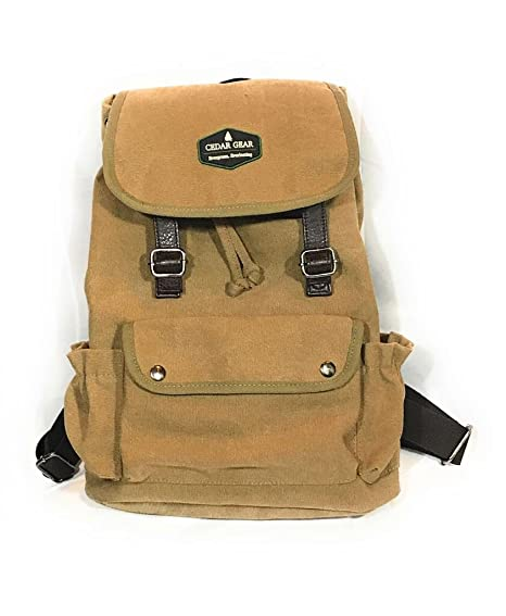 0f0b045e8a17 Classic Canvas Backpack for Hiking Camping Backpacking Trekking (Beige)