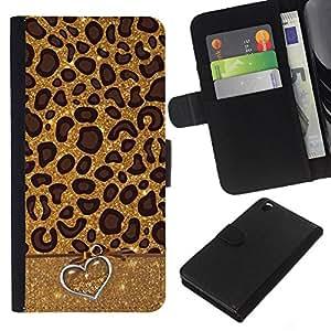 KingStore / Leather Etui en cuir / HTC DESIRE 816 / Leopard Patrón Corazón animal Piel;