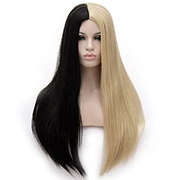 Women s Cosplay Long Straight Wig Synthetic Ombre Two Tone Heat Resistant Cosplay  Costume Wig Half Black 49c95901d