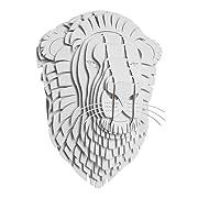 Cardboard Safari Recycled Cardboard Animal Taxidermy Lion Trophy Head, Leon White Medium