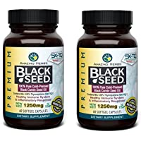 Amazing Herbs Premium Black Seed Oil 1250mg - 60 Softgels - Cold-Pressed Black Cumin Seed Oil - Immune System (2 Pack)