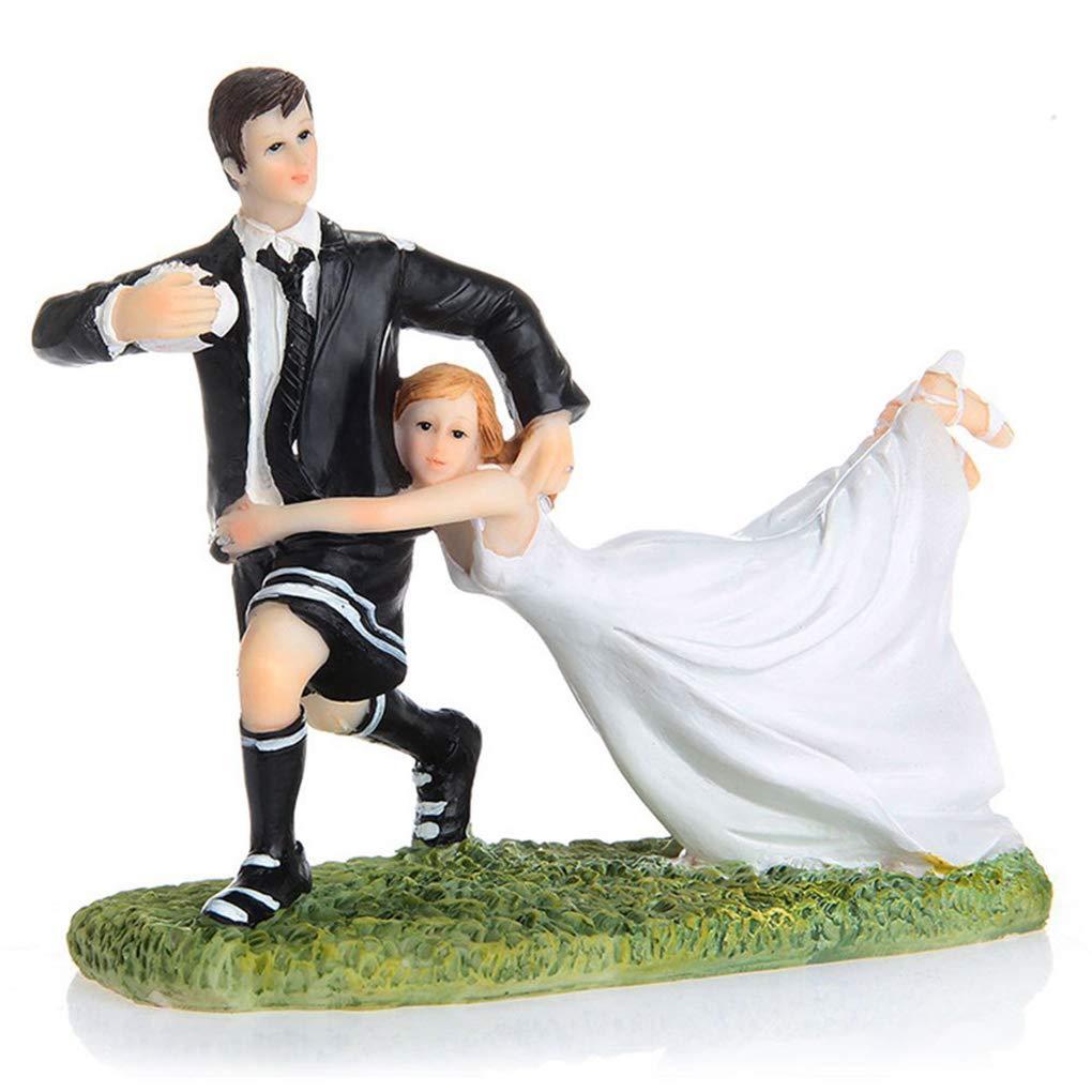 Zerama Lustige Paar Rugby Figur Hochzeitstorte Topper Geschenk Puppe Resin Crafts-Partei-Dekoration