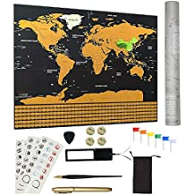 Scratch Off World Map Poster With Relevant Accessories Includes Scratch Pen, Pick, and Flag Pins etc,Home Decorations for Living Room,Bedroom,Wall Art,Gift for Travelers.Size 32.5 x 23.4inches