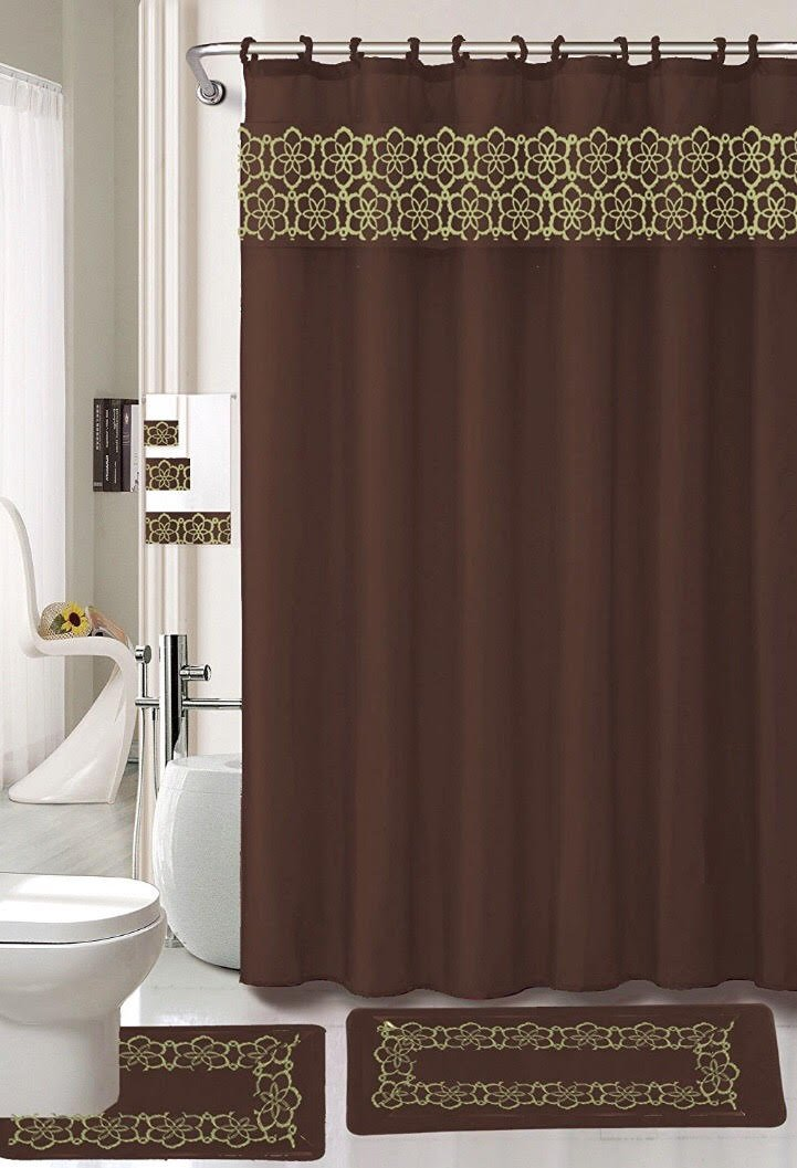 18 Piece Elegant Bathroom Set: 2-Rugs/Mats (1-Contour Rug, 1-Bath Mat) Poly Acrylic Pile Rubber Backing, 1-Fabric Shower Curtain, 12-Fabric Covered Rings, 3-Piece Decorative Towel Set (Brown)