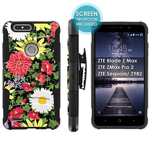[Mobiflare] Armor Case for ZTE Blade Zmax Pro 2/ZTE Sequoia [Black/Black] Blitz Armor Phone Case with Holster [Screen Protector INCLUDED] - [Spring Flowers]