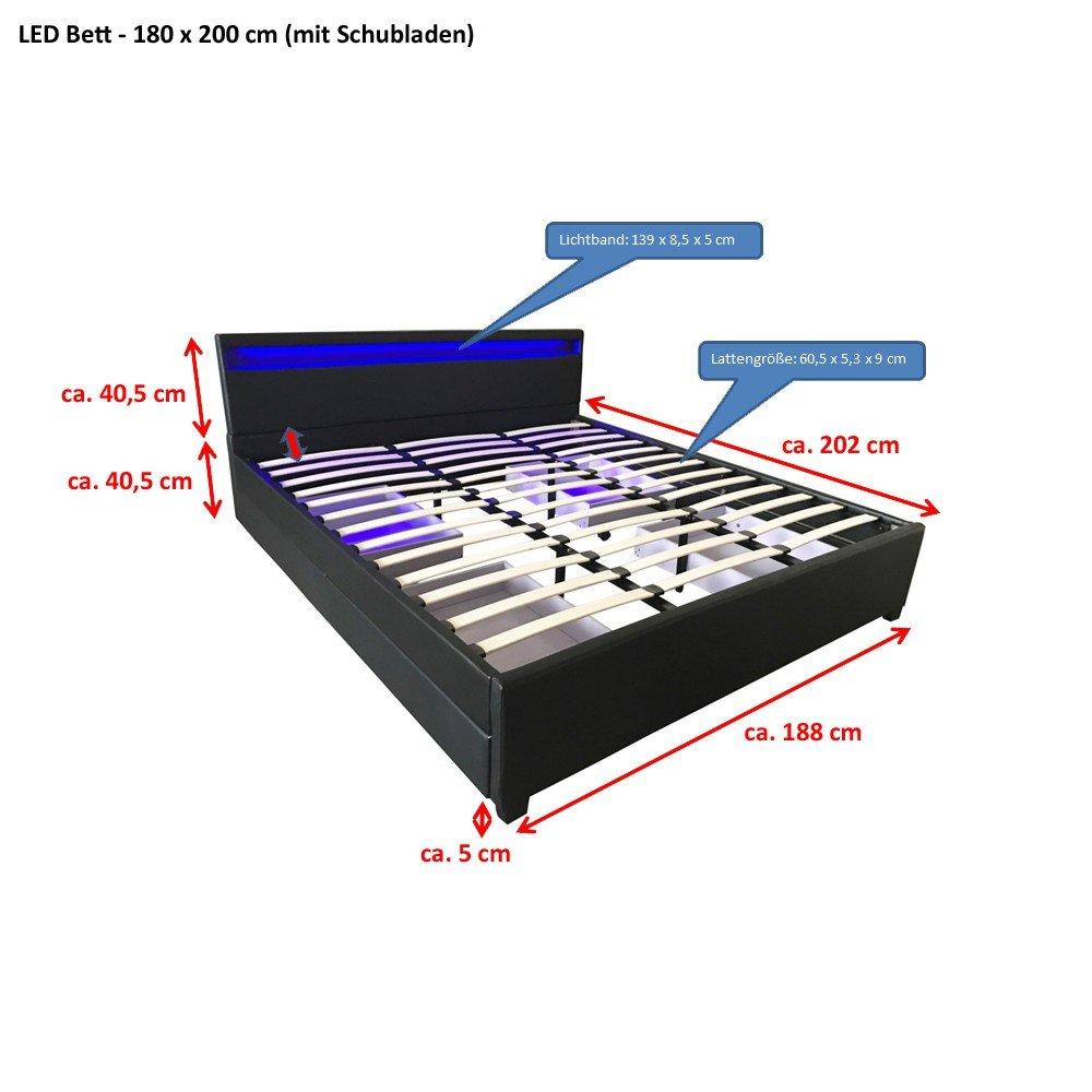 Home Deluxe | LED Bett | Nube | Schwarz | inkl. Schublade ...