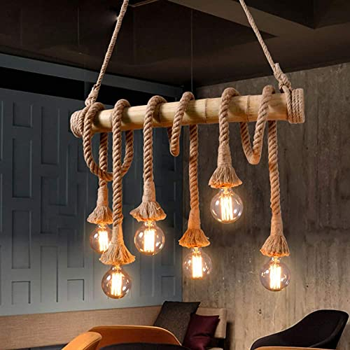 LITFAD Vintage Chandelier Edison Pendant Lamp Bare Bulb Island-Light Asian Rope and Bamboo 6 Lights Ceiling Pendant Light for Kitchen Island Restaurant Bar