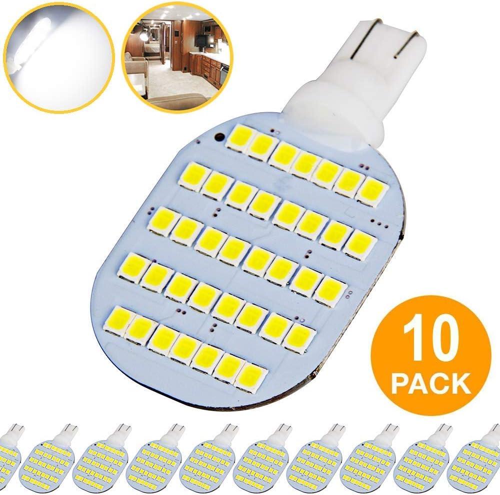 Super Bright T10 921 922 912 LED Bulbs for 12V RV Ceiling Dome Light RV Interior Lighting Trailer Camper, White 600 Lumens (Pack of 10)