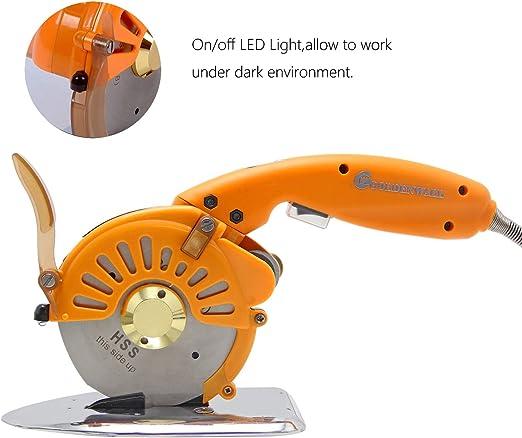 Cortadora de Tela El/éctrico de 110mm para Cuero Naranja M/áquina de Corte Redondo de Tela con Cuchilla VEVOR Cortador de Tela Giratorio