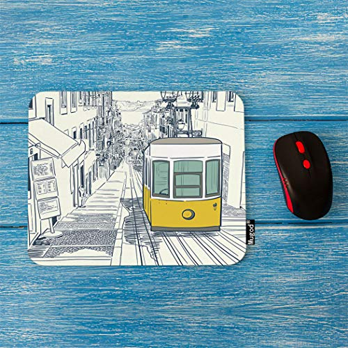 Mugod Postcard Mouse Pad Quiet Street in Lisbon with Yellow Tram and Sketched Houses Decor Gaming Mouse Pad Rectangle Non-Slip Rubber Mousepad for Computers Laptop 7.9x9.5 Inches