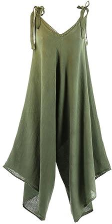 Kaki Bohème Longue Robe Charleselie94® Yoni Vert Lin Combinaison RW6XEqnT