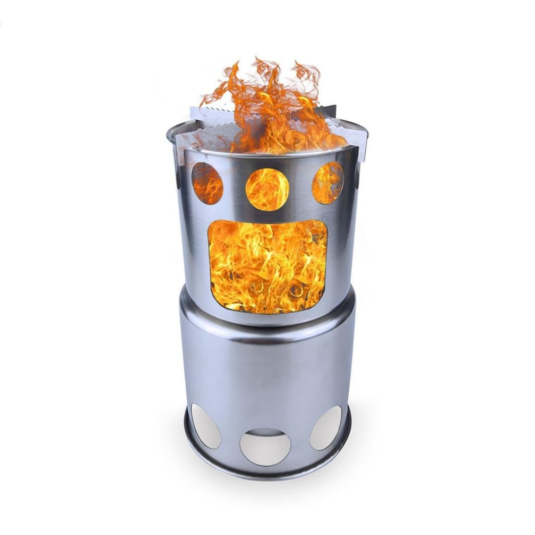 Barbeque Stove, Elevin(TM) Portable Burning Stove Pocket Folding Camp Stove Mini Fire Spout Barbeque (Silver)