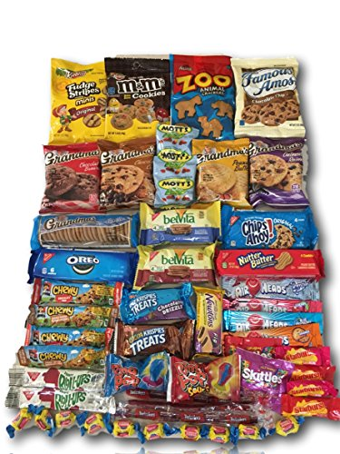 Cookie & Candy Care Package by AtHomePlus (50 Count) --Perfect Gift for College Dorm, Military or Office!! (Sick Care Package Ideas)