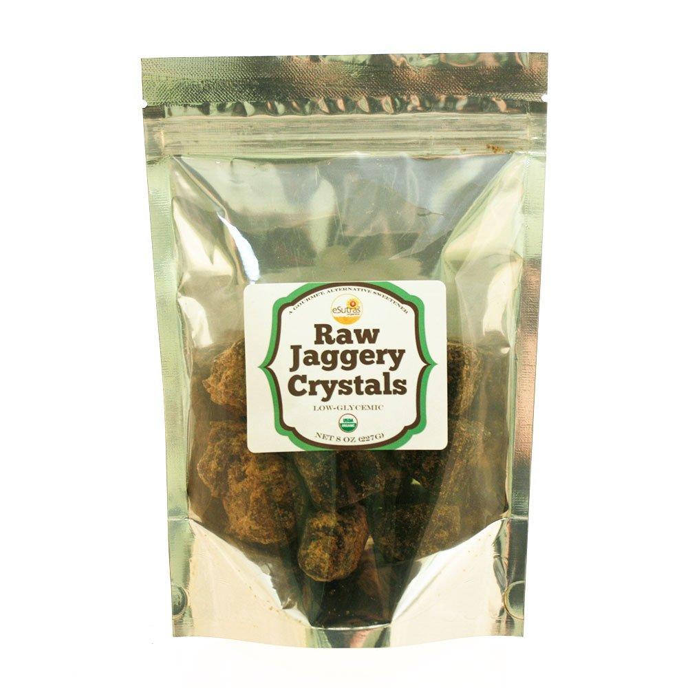 eSutras Organics Raw Whole Cane Jaggery Cubes , 8 Ounce, Burnt sugar