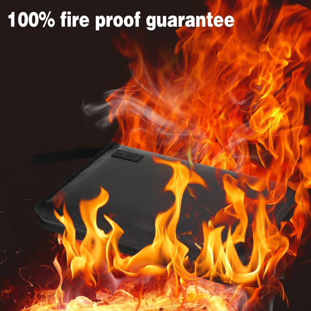 Fireproof Document Bag Expanding File Folder Portable Fireproof Accordion Document Organiser Fireproof File Bag A4 and Letter Size with Fire Resistant Zipper for Ipad, Contract, Bills, Photos and Valuables Storage Protection (13 Pockets) …
