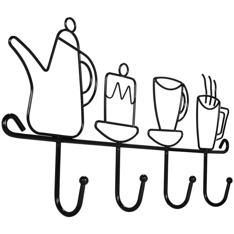 Decorative Wall Hooks for Coats | 4 Hook Coffee Mug Wall Rack | Hooks Rack/Holder for Grill Accessories Kitchen Utensil | Wall Mounted Key Holder Key Rack Key Hanger | Bathroom Towel Hooks | Hat Rack