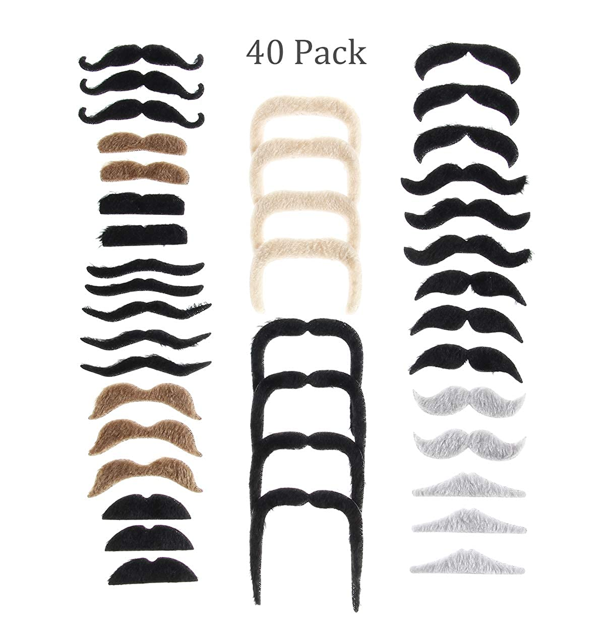 Grilong 40 Pack Self Adhesive Fake Mustaches Novelty Fiesta Mexican Party Supplies Decorations