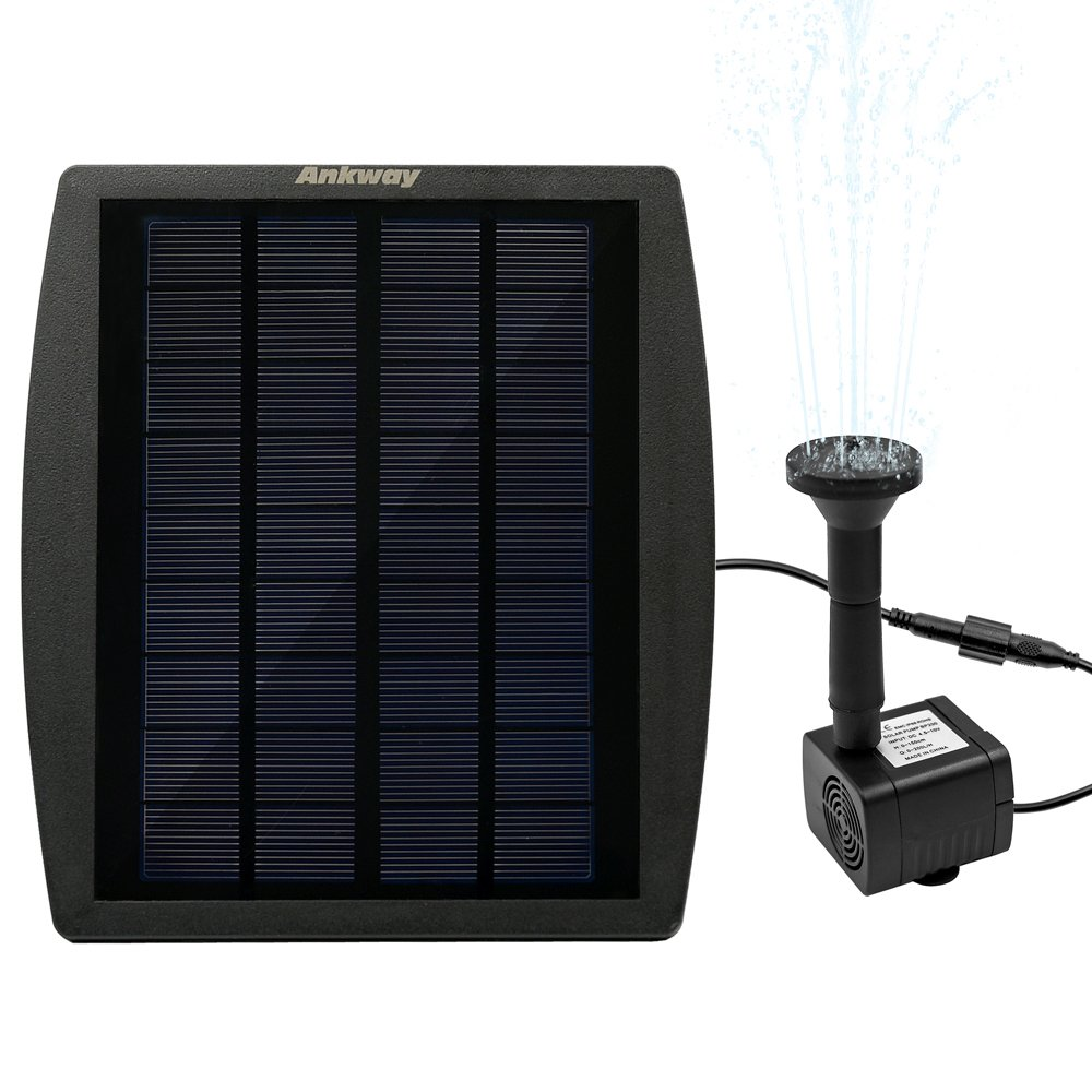 [Continuous Flow] Ankway Solar Pump for Water Fountain, Solar Powered Panel Kit Pool Garden Watering Submersible Pump,Birdbath Fountain,Easy Installation SP-01
