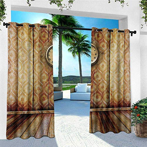 (Victorian, Outdoor Curtain Wall, Antique Clock on Medieval Style Wall Wooden Floor Classic Architecture Theme Art, for Patio Waterproof W84 x L96 Inch Beige Brown)