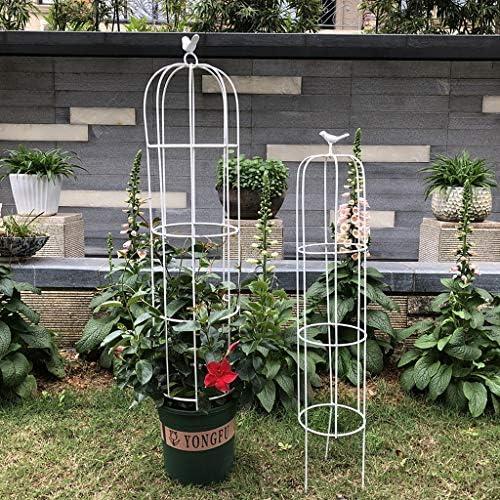 2パックガーデンオベリスクトレリス、メタルトレリス鉢植えサポートクライミングバインズパティオ、芝生、庭、中庭エリアのための屋内屋外の背の高い鳥庭ステークスフレーム、