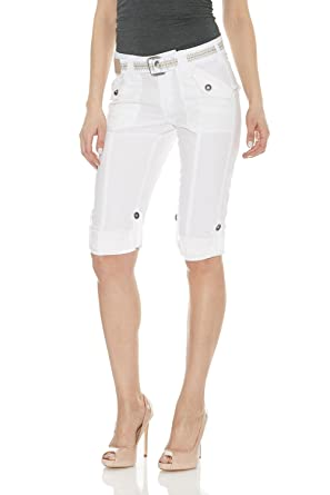 Suko Women's Cargo Capri Pants Adjustable Length Stretch Poplin ...