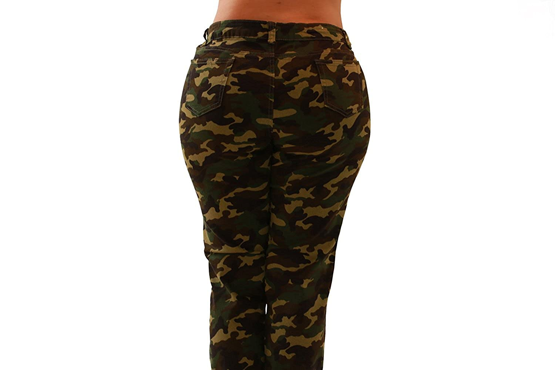 Plus Size Camo Butt Lifter Women Denim Jeans