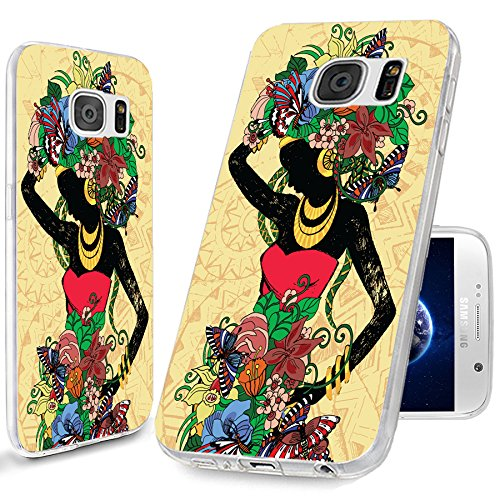 S6 Case, Samsung S6 Case,Galaxy S6 Case , ChiChiC [Cute Design Series] Full Protective unique Case Slim Durable Flexible Soft TPU Rubber Cases Cover for Samsung Galaxy S6 Verizon AT&T Sprint T-Mobile,Beautiful fashion girl in a Red Dress with abstract floral hair on yellow background