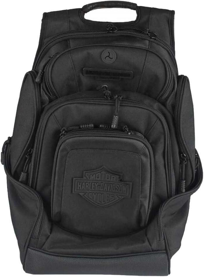 Harley-Davidson Sculpted Bar & Shield Deluxe Backpack, Black BP2000S-BLKBLK