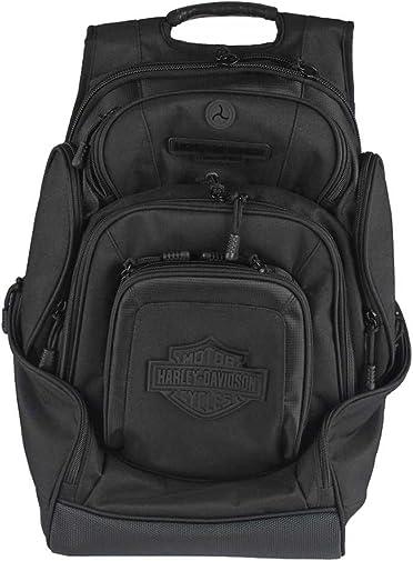 Harley-Davidson Sculpted Bar Shield Deluxe Backpack, Black BP2000S-BLKBLK