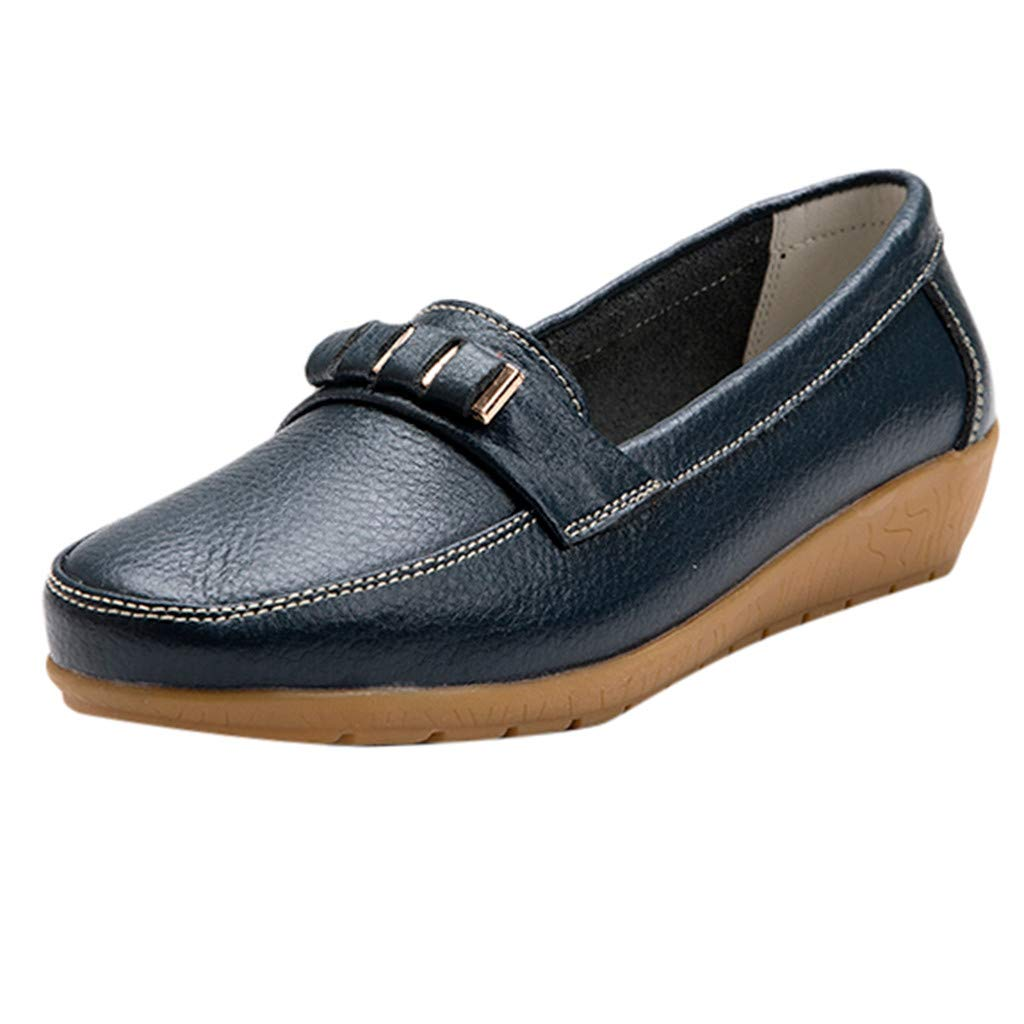 Sunyastor Women's Flat Shoes Leather Loafers & Slip-Ons Flats Driving Walking Casual Moccasins Soft Sole Shoes Dark Blue