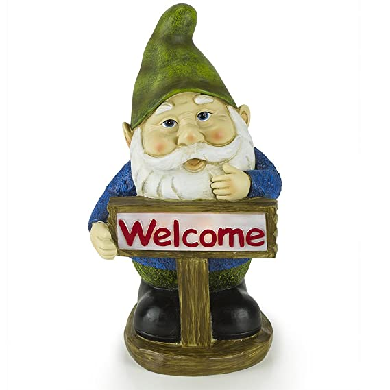Welcome Gnome Solar Garden Light by Dawhud Direct