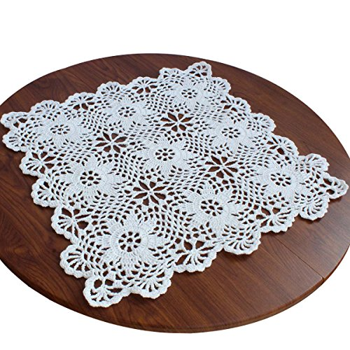 THELUSIS Lace Doily Hand Crocheted Table Cloth Square Table Cover Table Placemats White 16''