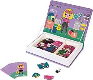 Janod MagnetiBook 55 pc Magnetic Girl Costumes Dress Up Game for Imagination Play - Book Shaped Travel/Storage Case Included - S.T.E.M. Toy for Ages 3+