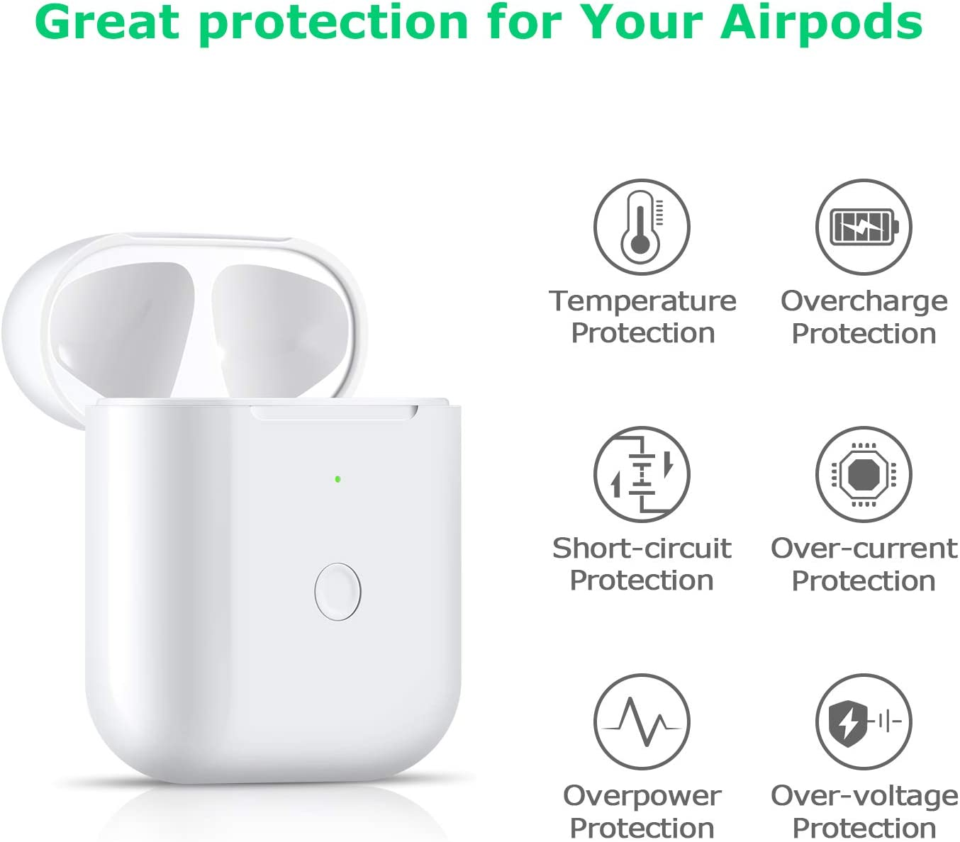 Wireless Charging Case Compatible with AirPods 1 2 Air pods ...