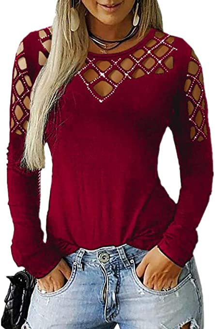 Soulitem Mujer Calado Camiseta Diamante Redondo Cuello Manga ...