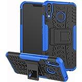 DINGXIN Asus ZenFone 5 ZE620KL ケース ZenFone 5Z ZS620KL カバー TPU+PC二つ素材製 [ 耐衝撃 薄型 落下防止 ] ゼンフォン5/5z 背面カバー スタンド機能付き (ブルー)